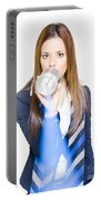 Pretty Business Woman Talking On Tin Can Phone Portable Battery Charger