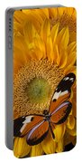 Pretty Butterfly On Sunflowers Portable Battery Charger