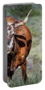 Pretty Female Cow With Horns Portable Battery Charger
