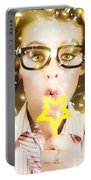 Pretty Geek Girl At Birthday Party Celebration Portable Battery Charger