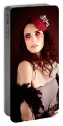 Pretty Glamour Fashion Girl On Red Backlight Portable Battery Charger