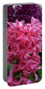 Pretty Hot Pink Hyacinth Flower Blossom Blooming Portable Battery Charger