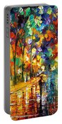 Pretty Night - Palette Knife Oil Painting On Canvas By Leonid Afremov Portable Battery Charger