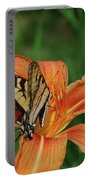 Pretty Orange Lily With A Butterfly On It's Petals Portable Battery Charger