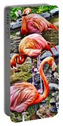 Pretty Pink Flamingos Portable Battery Charger