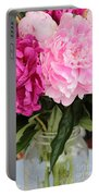 Pretty Pink Peonies In Ball Jar Vase Portable Battery Charger