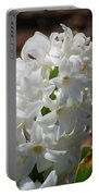 Pretty White Hyacinth Flower Blossom Flowering Portable Battery Charger