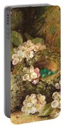 Primroses And Bird's Nests On A Mossy Bank Portable Battery Charger