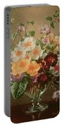 Primulas In A Glass Vase  Portable Battery Charger