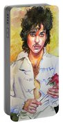Prince Rogers Nelson Holding A Rose Portable Battery Charger