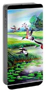 Artistic Painting Photo Flying Bird Handmade Painted Village Art Photo Portable Battery Charger