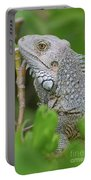 Profile Of A Gray Iguana In The Top Of A Bush Portable Battery Charger