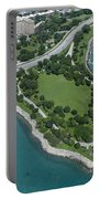 Promontory Point In Burnham Park In Chicago Aerial Photo Portable Battery Charger