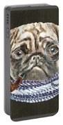 Pug Monacle Scarf Pipe Dogs In Clothes Portable Battery Charger