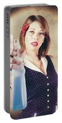 Pump Action Pin Up Woman Killing Glass Grime Portable Battery Charger