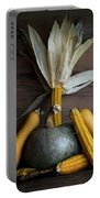 Pumpkin, Corncob, Autumn Leaves And Burning Candles Decoration O Portable Battery Charger