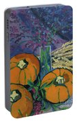 Pumpkins And Wheat Portable Battery Charger by Erin Fickert-Rowland