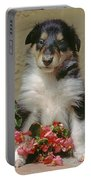 Pup In The Flowers Portable Battery Charger