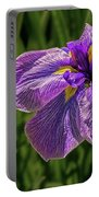 Puple Iris In Spring Portable Battery Charger