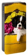 Puppy In Yellow Bucket  Portable Battery Charger