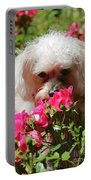 Puppy With Roses Portable Battery Charger