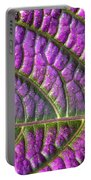 Purple And Green Leaf Portable Battery Charger