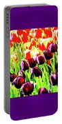 Purple And Peach Tulips 2 Portable Battery Charger