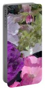Purple And Pink Petunias Oil Painting Portable Battery Charger