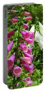 Purple And White Bell Flowers Portable Battery Charger