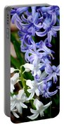 Purple And White Hyacinth Portable Battery Charger