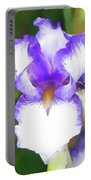 Purple And White Iris Portable Battery Charger