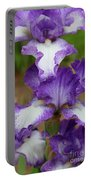 Purple And White Iris Layers Portable Battery Charger