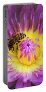 Purple And Yellow Lotus With A Bee Textured Portable Battery Charger