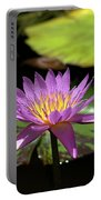 Purple And Yellow Water Lily Portable Battery Charger