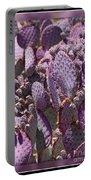 Purple Cactus Canvas Portable Battery Charger