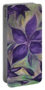 Purple Clematis Abstract Portable Battery Charger