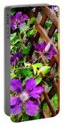 Purple Clematis On Trellis Portable Battery Charger