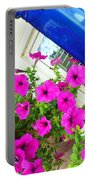 Purple Flowers On White Window 2 Portable Battery Charger