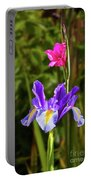Purple Iris And Gladioli Byzantinus Portable Battery Charger