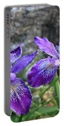 Purple Irises With Gray Rock Portable Battery Charger
