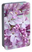 Purple Lilacs With Text Portable Battery Charger