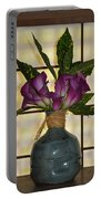 Purple Lilies In Japanese Vase Portable Battery Charger