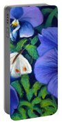 Purple Pansies And White Moth Portable Battery Charger