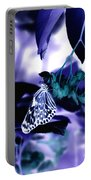 Purple Teal And A White Butterfly Portable Battery Charger