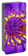 Purple Water Lily Macro Portable Battery Charger