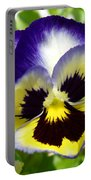 Purple White And Yellow Pansy Portable Battery Charger