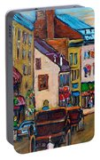 Quebec City Street Scene  Caleche Ride Portable Battery Charger