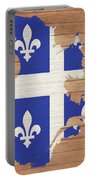 Quebec Rustic Map On Wood Portable Battery Charger