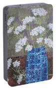 Queen Anne's Lace In Blue Vase Portable Battery Charger