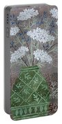 Queen Anne's Lace In Green Vase Portable Battery Charger